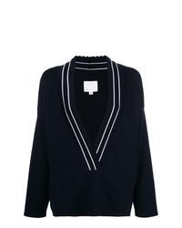 Женский темно-синий свитер с v-образным вырезом от Molli