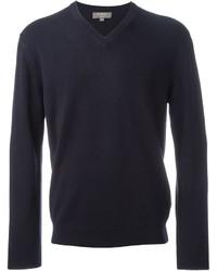 Мужской темно-синий свитер с v-образным вырезом от N.Peal