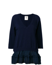 Женский темно-синий свитер с v-образным вырезом от Semicouture