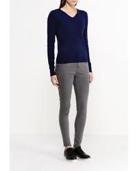 Женский темно-синий свитер с v-образным вырезом от Silmar