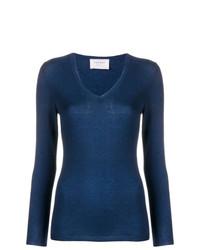 Женский темно-синий свитер с v-образным вырезом от Snobby Sheep