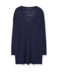 Женский темно-синий свитер с v-образным вырезом от Violeta BY MANGO