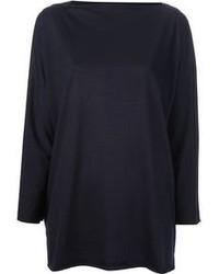 Темно-синий свободный свитер
