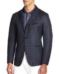 Темно-синий стеганый пиджак