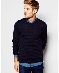 Мужской темно-синий стеганый свитер с круглым вырезом от Esprit