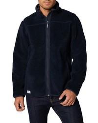 Темно-синий флисовый свитер на молнии