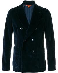 Мужской темно-синий хлопковый двубортный пиджак от Barena