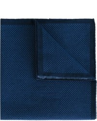 """Темно-синий хлопковый нагрудный платок с узором """"гусиные лапки"""" от Eleventy"""