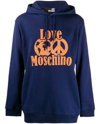 Мужской темно-синий худи с принтом от Love Moschino