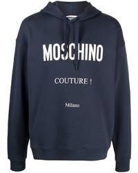 Мужской темно-синий худи с принтом от Moschino