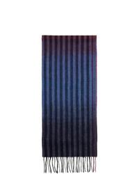 Мужской темно-синий шарф в вертикальную полоску от Paul Smith