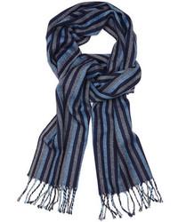 Темно-синий шарф в горизонтальную полоску