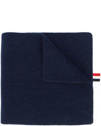 Мужской темно-синий шарф в горизонтальную полоску от Thom Browne