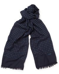 Темно-синий шарф в горошек