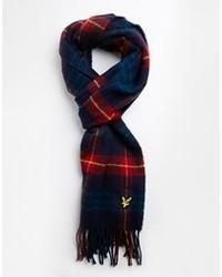Мужской темно-синий шарф в шотландскую клетку от Lyle & Scott