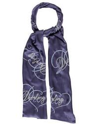 Темно-синий шарф с принтом