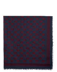 Мужской темно-синий шарф с принтом от Alexander McQueen