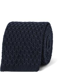 Мужской темно-синий шелковый вязаный галстук от Ermenegildo Zegna