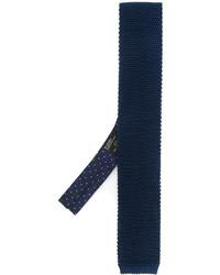 Мужской темно-синий шелковый вязаный галстук от Etro