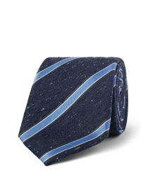 Мужской темно-синий шелковый галстук в вертикальную полоску от Canali