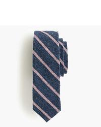 Темно-синий шелковый галстук в горизонтальную полоску