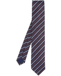 Мужской темно-синий шелковый галстук в горизонтальную полоску от Ermenegildo Zegna