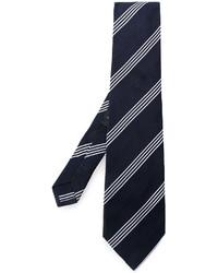 Мужской темно-синий шелковый галстук в горизонтальную полоску от Etro