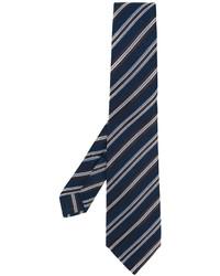 Мужской темно-синий шелковый галстук в горизонтальную полоску от Kiton