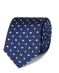 Мужской темно-синий шелковый галстук с вышивкой от Turnbull & Asser