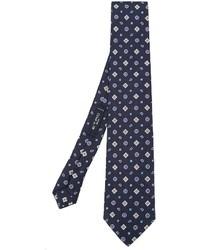 Мужской темно-синий шелковый галстук с геометрическим рисунком от Etro