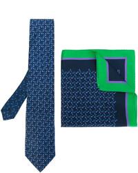 Мужской темно-синий шелковый галстук с принтом от Etro