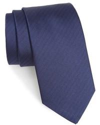 """Темно-синий шелковый галстук с узором """"в ёлочку"""""""