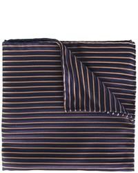 Темно-синий шелковый нагрудный платок в горизонтальную полоску от Armani Collezioni