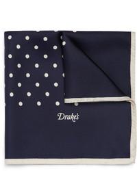 Темно-синий шелковый нагрудный платок в горошек от Drakes