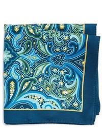 """Темно-синий шелковый нагрудный платок с """"огурцами"""""""