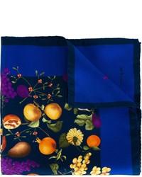 Темно-синий шелковый нагрудный платок с принтом