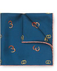 Темно-синий шелковый нагрудный платок с принтом от Gucci