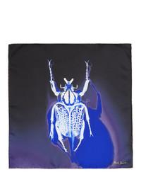 Темно-синий шелковый нагрудный платок с принтом от Paul Smith