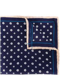 Темно-синий шелковый нагрудный платок с цветочным принтом от fe-fe