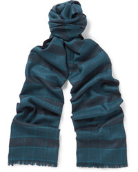Мужской темно-синий шелковый шарф в шотландскую клетку от Brioni