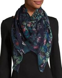Темно-синий шелковый шарф с цветочным принтом
