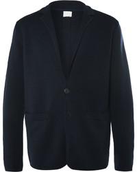 Темно-синий шерстяной вязаный пиджак