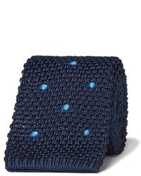 Мужской темно-синий шерстяной галстук в горошек от Dunhill