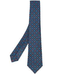 Мужской темно-синий шерстяной галстук с принтом от Kiton