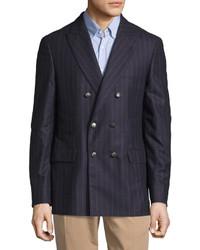 Темно-синий шерстяной двубортный пиджак в вертикальную полоску