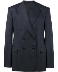 Мужской темно-синий шерстяной двубортный пиджак в вертикальную полоску от Balenciaga