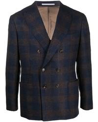 Мужской темно-синий шерстяной двубортный пиджак в шотландскую клетку от Brunello Cucinelli