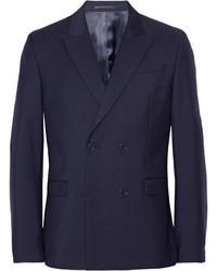 Темно-синий шерстяной двубортный пиджак
