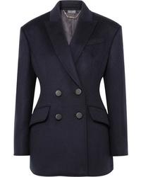Женский темно-синий шерстяной двубортный пиджак от Alexander McQueen