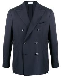 Мужской темно-синий шерстяной двубортный пиджак от Boglioli